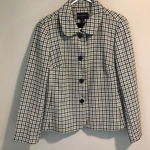 Banana Republic Wool Plaid Cropped Pea Coat